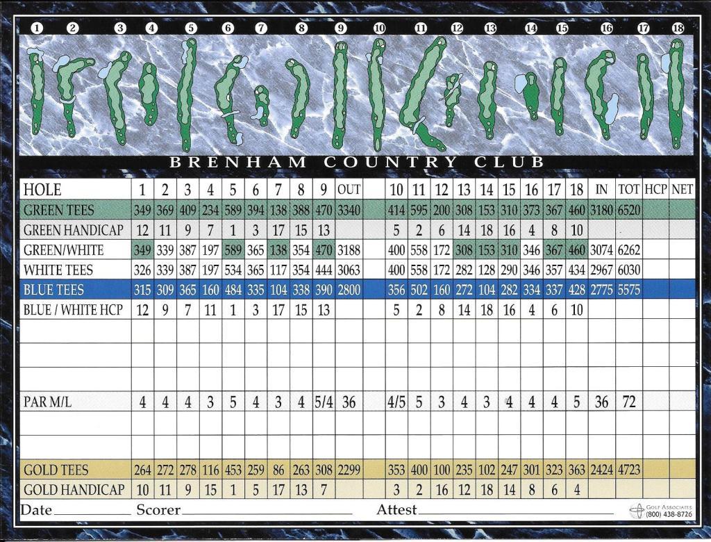 Brenham Country Club Scorecard