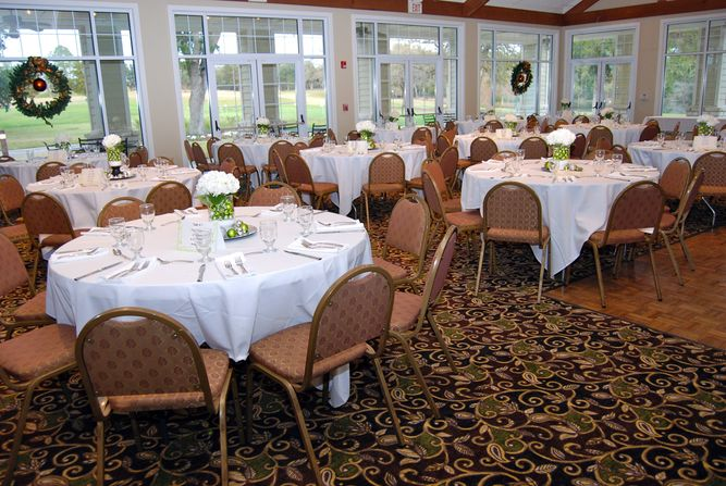 Tables set up for event at Brenham Country Club